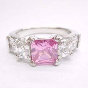 Sterling Silver Pink & Clear Cubic Zirconia Ring